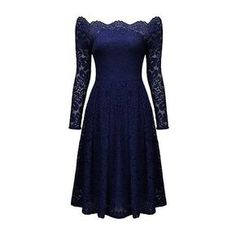 Rotita Lace Scalloped Neckline Long Sleeve High Waist Dress (€33) ❤ liked on Polyvore featuring dresses, short dresses, navy blue, short sleeve dress, blue dress, lace mini dress, high waist dress and long-sleeve lace dress