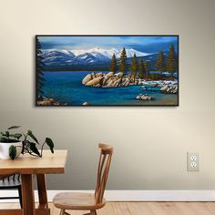 Loon Peak 'Winter at Sand Harbor Lake Tahoe' Painting Print on Wrapped Canvas Size: Painting Frames, Painting Prints, Sand Harbor Lake Tahoe, Lake Tahoe Vacation, Canvas Size, Beautiful Images, Wrapped Canvas, Size 12, Posts