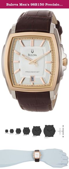 Bulova Men's 98B150 Precisionist Two-Tone Tonneau Strap Watch. Pushing the limits of Bulova engineering fashioning something new and wonderful the Precisionist series. Two tone stainless steel case measures 42mm diameter by 12mm thick. Classy genuine leather strap includes a special deployment clasp tastefully securing the watch to your wrist. Patterned silver tone dial is well accented by luminous hands and hour markers. With a Quartz movement allowing for accuracy of 10sec +/- per year…
