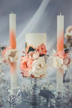 Blush pink & ivory wedding votive candles, peach pillar candles, spring, summer rustic wedding ideas, barn wedding, flower candle set 3pcs