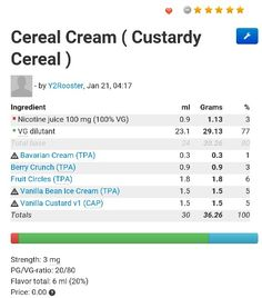 Cereal cream e juice recipe