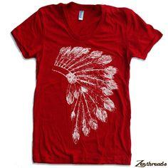 Womens Native American HEADDRESS american apparel T by ZenThreads, $18.00