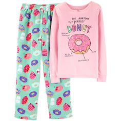 Carter's Little & Big Girls Donut Snug-Fit Pajama Set - Mint Donut 7 Pajama Outfits, Baby Boy Outfits, Kids Outfits, Satin Pyjama Set, Pajama Set, Pajama Party, Womens Fashion Online, Latest Fashion For Women, Pajamas For Teens