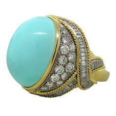 1stdibs | DAVID WEBB Turquoise Diamond Gold Platinum  Ring