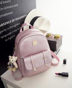 ZOQW 2017 Women Backpacks For Adolescent Girls PU Leather Backpack Female School Bags Travel Rucksack mochila 3 Sets WYQ441