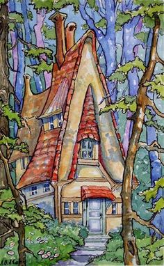 """""""Cottage in the Wood"""" - Original Fine Art for Sale - © Alida Akers"""