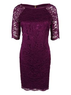 e6898edc14d39 Vince Camuto Womens Elbow Sleeve Lace Dress 2 Plum    Find out more about  the