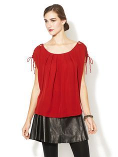 Silk Lace Up Sleeve Blouse by The Addison Story on Gilt.com