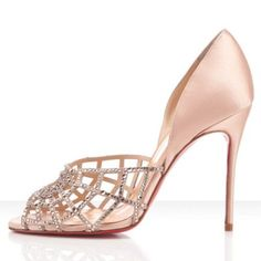 Christian Louboutin Cheap Outlet Women Aranea 100mm Toe Escarpins Nude Shoes.