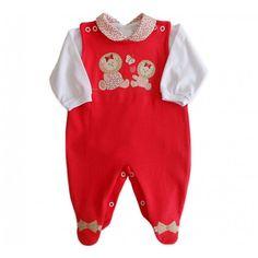 Macacão Vermelho e Body para Bebê Menina