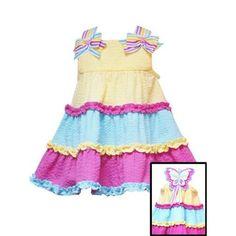 Rare Editions Colorblock Seersucker Butterfly Back Dress