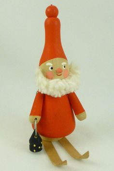 Vintage Wooden Tomte Elf Nisse on Skis w/ Lantern Christmas Figurine - Sweden
