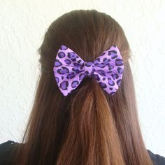 Purple Cougar Hair Bow Animal Print Hair Clip Teen by Lorettajos, $6.00