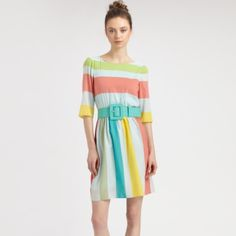 Alice + Olivia Anita Stripe Dress Multicolor Anita Striped Dress Pretty pastel stripes lend a touch of whimsy to this airy silk frock, cinched at the waist by a wide buckled belt. Color: multi.  Worn once to a wedding. Alice + Olivia Dresses