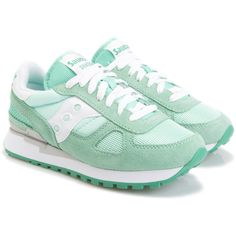 Saucony Sneakers ($80) ❤ liked on Polyvore featuring shoes, sneakers, mint green, saucony trainers, mint green sneakers, saucony, mint sneakers and mint shoes