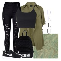 """""""Untitled #83"""" by tessi-vocilkova ❤ liked on Polyvore featuring New Look, WithChic, Topshop, Moschino and NIKE"""