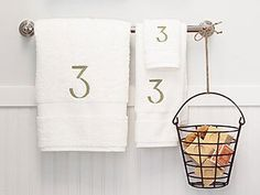 Like the numbered towels and the cute soap bucket