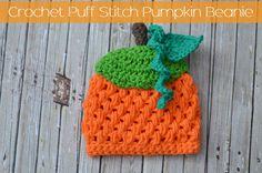Crochet Puff Stitch Pumpkin Beanie Size 3-6 Month Free Pattern www.thestitchinmommy.com