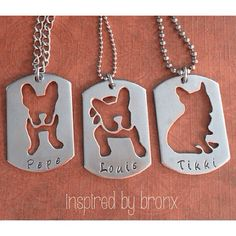 Dog Necklace, Personalized Dog Necklace, French Bulldog Necklace, Frenchie Jewelry, Animal Jewelry, hand stamped silhouette dog tag on Etsy, $36.00