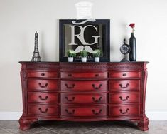 Rich and elegant dresser painted with Chalk Paint® by Annie Sloan in Emperor's Silk then sealed with both Clear and Black Chalk Paint® Wax. Incredible project by the Refurbished Gentleman.   Feature on Paint Sell Repeat