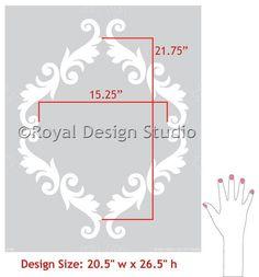 Large Trellis Wall Stencil | Acanthus Damask Wall Stencil for DIY Wallpaper | Royal Design Studio