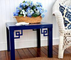 O'verlays ™ by Danika & Cheryle llc — Greek Key Corners on Ikea Lack table –… Lack Table Hack, Ikea Lack Hack, Ikea Lack Side Table, Ikea Table, Ikea Furniture Hacks, Furniture Makeover, Ikea Overlays, Blog Deco, Interior Design Living Room