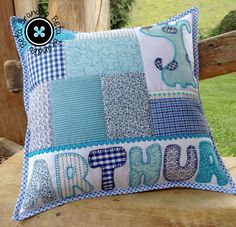 Applique Pillows, Sewing Pillows, Patchwork Cushion, Quilted Pillow, Quilt Block Patterns, Pattern Blocks, Baby Pillows, Throw Pillows, Cushions To Make
