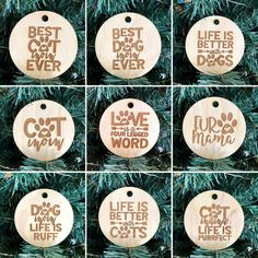 These are the perfect gift for a pet lover. Add them to a gift for that special touch & then they can hang them on the tree. Personalized Wood Signs, Personalized Ornaments, Ever And Ever, Wood Tray, Business Signs, Letter Wall, Crazy Cat Lady, Laser Engraving, Life Is Good