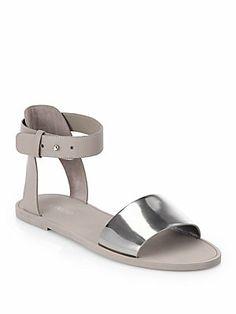 Vince Sawyer Leather & Metallic Leather Sandals