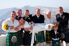 Scottish Wedding in Santorini #Scottish #kilts #wedding