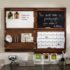 Looks like a great replacement for the organizer that just fell off our wall!  2x2 Organize-It Set, Rustic Wood #pbteen