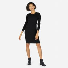 The Luxe Wool Ribbed Long-Sleeve Dress - Everlane