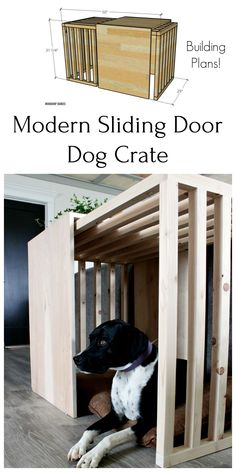 This modern sliding door dog crate furniture is what you and your pup have been looking for! Build this dog crate with sliding door using these plans! Wooden Dog Crate, Wooden Dog Kennels, Diy Dog Crate, Diy Dog Kennel, Large Dog Crate, Diy Dog Bed, Kennel Ideas, Double Dog Crate, Dog Crate Table