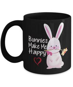 Shirt White Bunnies Make Me Happy Cute Bunny Rabbit Coffee Mug 11oz Black