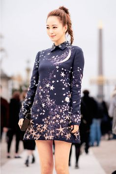 Ponytail plus the universe in a dress, I have an affinity for stars and crescent moons