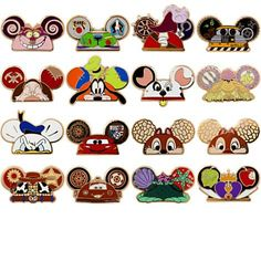 DISNEY PINS | Ear Hat Pin Set • Classic Disney characters depicted as mouse ear hats • Series of 16 pins • The full series includes Donald Duck, Goofy, Chip, Dale, Grumpy, Cheshire Cat, Evil Queen, Captain Hook, Patch, Belle, Ariel, Lightning McQueen, Tow Mater, Woody, Buzz Lightyear, and WALL•E