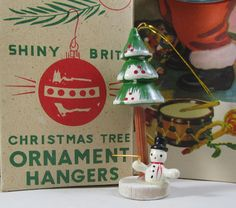 Miniature Wooden Snowman Ornament Crooked Christmas Tree Vintage 70s Taiwan Mini Diorama Whimsical Decor Retro Craft Art Gift by WillowValleyVintage on Etsy