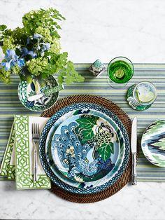 Outdoor Tablecloth, Table Setting Inspiration, Summer Design, China Patterns, Schumacher, Williams Sonoma, White Decor, Napkins Set, Home Decor Accessories