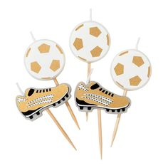 Light up the pitch and have a ball with these football themed candles by Talking Tables. Party Champions will be the must have range for any football fan. Each pack contains 5 candles - 3 x football, 2 x football boot. Soccer Fans, Football Fans, Champions, Birthday Celebration, Birthday Parties, Party Set, Candle Branding, Football Birthday, Paper Tape