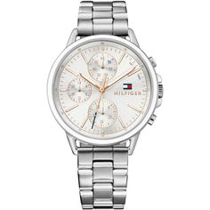 Tommy Hilfiger Women's Sophisticated Sport Stainless Steel Bracelet... ($125) ❤ liked on Polyvore featuring jewelry, watches, silver, watch bracelet, sport wrist watch, sports watches, sport jewelry and tommy hilfiger watches