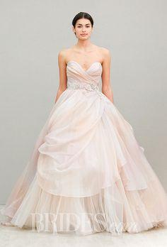 A blush pink ball gown @lazarobridal wedding dress | Brides.com