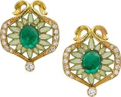 Masriera y Carreras Emerald, Diamond, Enamel, Gold Earrings.