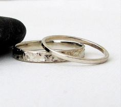 White Gold Wedding Ring Set Gold Wedding Bands Gold Wedding Rings Hammered Distressed Rustic Wedding Bands 14k Gold Unique Wedding Rings