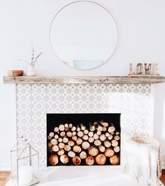 We love this fireplace! A floating mantel gives a living space an improved look! Rad, dude!