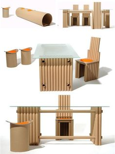 Cardboard tubes recycled into furniture and other objects. I particularly like the chaise lounge chairs in some of the photos further down. Cardboard Furniture, Recycled Furniture, Furniture Projects, Furniture Making, Diy Furniture, Furniture Design, Antique Furniture, Modern Furniture, Cardboard Chair