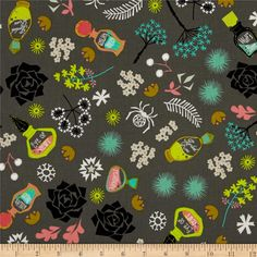 Cotton & Steel Spell Bound Witch Brew Gray from @fabricdotcom  Designed by Rashida Coleman-Hale for Cotton & Steel, this cotton print fabric is perfect for quilting, apparel, and home decor accents. Colors include black, white, shades of grey, shades of green, and shades of pink.