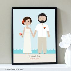 Wedding Portrait, Custom Portrait, Beach Wedding, Couple Portrait, Anniversary