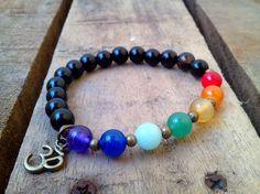 Chakra Bracelet, Healing Bracelet,Yoga Bracelet, Mala Beads,Om Bracelet by AbourShop on Etsy