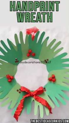 HANDPRINT WREATH this handprint wreath for Christmas is such a cute keepsake Kids can make these as gifts or to simply put up for Christmas decorations Preschool and Kin. Christmas Decorations For Kids, Christmas Crafts For Kids To Make, Preschool Christmas, Christmas Art, Simple Christmas, Holiday Crafts, Christmas Ornaments, Christmas Crafts For Kindergarteners, Class Christmas Gifts