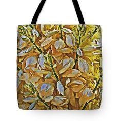 Yucca Flowers Blooming Tote Bag by Tom Janca.  The tote bag is machine washable, available in three different sizes, and includes a black strap for easy carrying on your shoulder.  All totes are available for worldwide shipping and include a money-back guarantee.